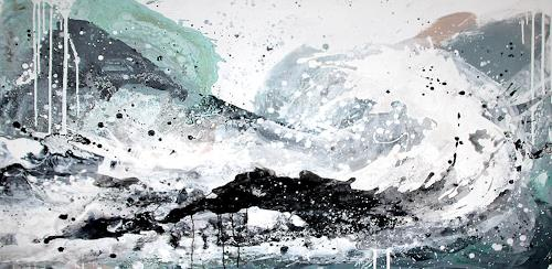 Conny Wachsmann, weisses Bild, Landschaft: See/Meer, Abstraktes, Abstrakte Kunst, Abstrakter Expressionismus