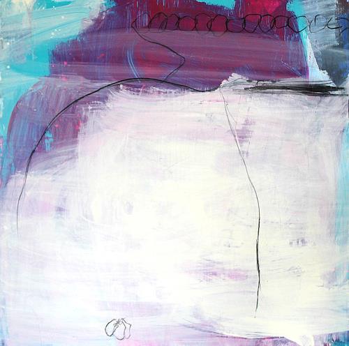 Conny Wachsmann, Gemeinsam schaffen wir das - lila beige, Abstraktes, Landschaft, Abstrakte Kunst