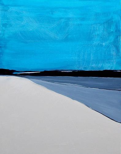 Conny Wachsmann, Gedankenweg - blaues Bild 120 x 90 cm, Landschaft, Abstraktes, Abstrakte Kunst, Expressionismus
