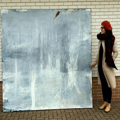 Conny Wachsmann, abstraktes graues Bild, Abstraktes, Diverses, Action Painting