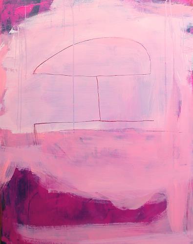 Conny Wachsmann, pinkes rotes rosa Bild - Die kurze Sommerhusche, Menschen, Abstraktes, Abstrakte Kunst