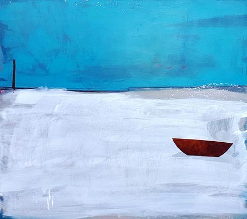 Conny Wachsmann, Landshcfatbild - Warmgrau und Petrol, Landschaft, Abstraktes, Colour Field Painting