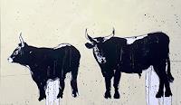 Conny Wachsmann, Stiere 160 x 100 cm  gemalt