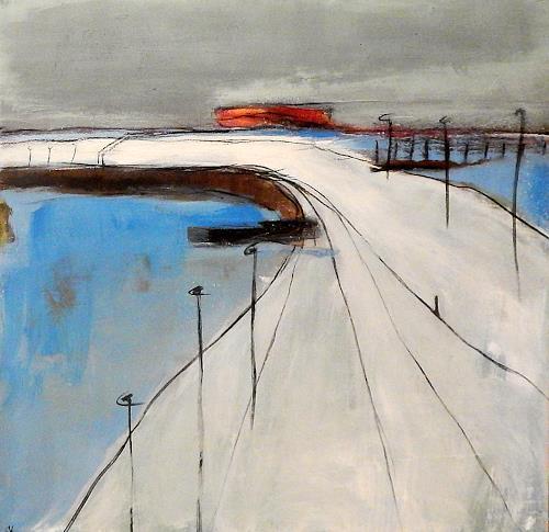 Conny Wachsmann, Mondphase - rotes Bild, Diverse Landschaften, Abstrakte Kunst
