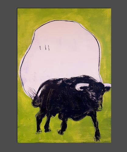 Conny Wachsmann, Stier gemalt grün beige, Diverse Tiere, Diverse Landschaften, Konkrete Kunst, Abstrakter Expressionismus