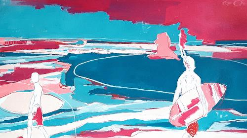Conny Wachsmann, Blau Brombeer - Bild mit Surfern, Diverse Menschen, Diverse Landschaften, Minimal Art, Abstrakter Expressionismus