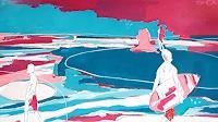 Conny Wachsmann, Blau Brombeer - Bild mit Surfern
