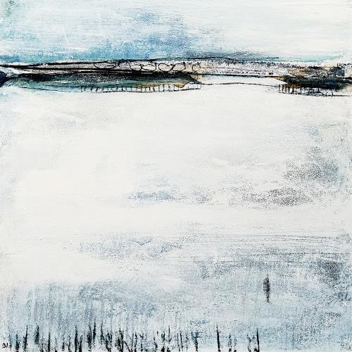 Conny Wachsmann, Über den Tellerrand schauen - 80 x 80 cm - weiss, Diverse Landschaften, Gesellschaft, Abstrakte Kunst