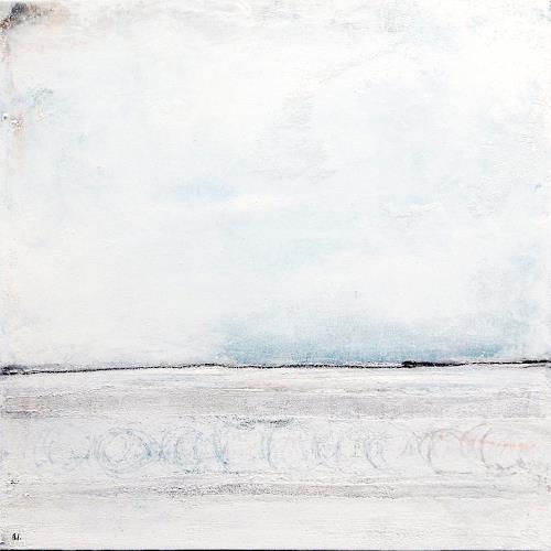 Conny Wachsmann, Ruhesteg - weisses Bild 80 x 80 cm, Abstraktes, Diverse Landschaften, Abstrakte Kunst, Expressionismus