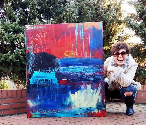 Conny Wachsmann, weisses Bild Boot, Landschaft, Action Painting, Abstrakter Expressionismus