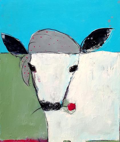 Conny Wachsmann, Kuh Stier gemalt, Diverse Tiere, Tiere: Land, Abstrakte Kunst