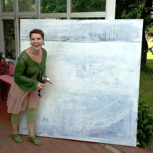 Conny Wachsmann, große weisse Bidler, Landschaft: See/Meer, Abstraktes, Action Painting
