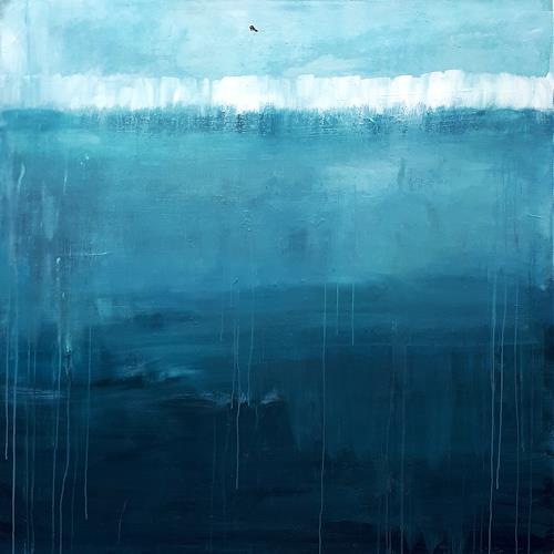 Conny Wachsmann, blaue große Bilder 170 x 170 cm, Landschaft: See/Meer, Diverse Landschaften, Abstrakte Kunst