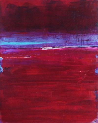 Conny Wachsmann, Verliebt am Yachthafen - rotes Bild, Abstraktes, Diverse Landschaften, Art Déco