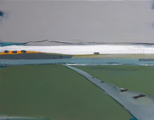 Conny Wachsmann, Grau Grünes Bild - Bergkörbe, Landschaft, Art Déco, Expressionismus