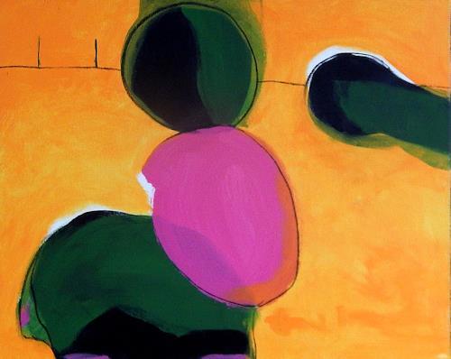 Conny Wachsmann, Bild gelb grün pink - Fang mal, Landschaft, Abstrakte Kunst