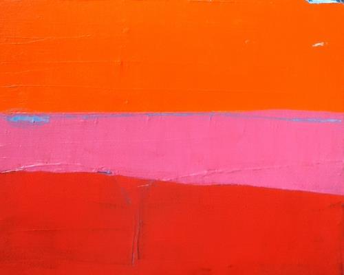 Conny Wachsmann, rotes Bild, Landschaft: See/Meer, Art Déco