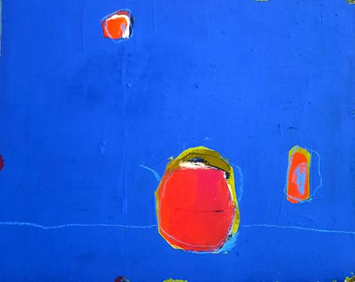 Conny Wachsmann, blaues Bild, Abstraktes, Art Déco, Abstrakter Expressionismus
