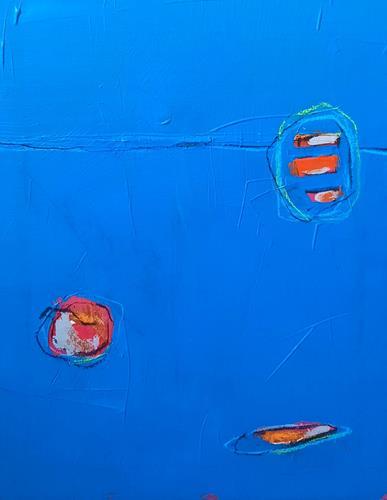 Conny Wachsmann, blaues Gemälde, Abstraktes, Art Déco