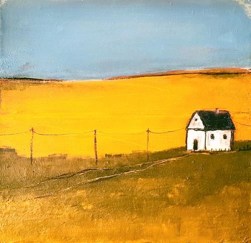 Conny Wachsmann, Bild in Orange grün blau - Titel: Damals, Landschaft: Berge, Art Déco, Expressionismus