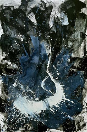 Conny Wachsmann, Eingebung II - schwarz weißes sehr großes Bild, Abstraktes, Prozesskunst