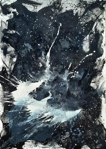 Conny Wachsmann, Eigebung I  - sehr großes schwarz weiss blau Bild, Abstraktes, Prozesskunst