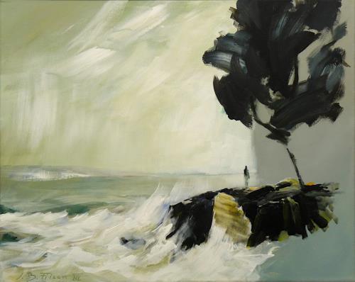 Jürgen Büse Filzen, Am Meer, Landschaft: See/Meer, Natur: Wasser, Gegenwartskunst, Expressionismus
