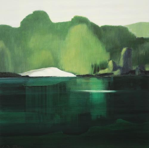 Jürgen Büse Filzen, Düne am Waldsee, Landschaft: See/Meer, Pflanzen: Bäume, Gegenwartskunst, Expressionismus