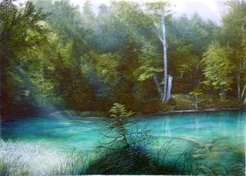 . Angerer der Ältere, Listsee im Rupertiwinkel, Hl. Rupert, Natur: Wasser, Landschaft: See/Meer, Romantik, Expressionismus