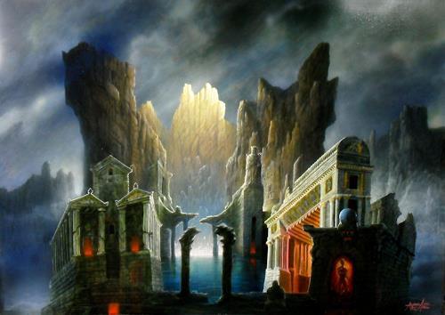 . Angerer der Ältere, Das Innere des Berges II, Architektur, Fantasie, Gegenwartskunst, Abstrakter Expressionismus