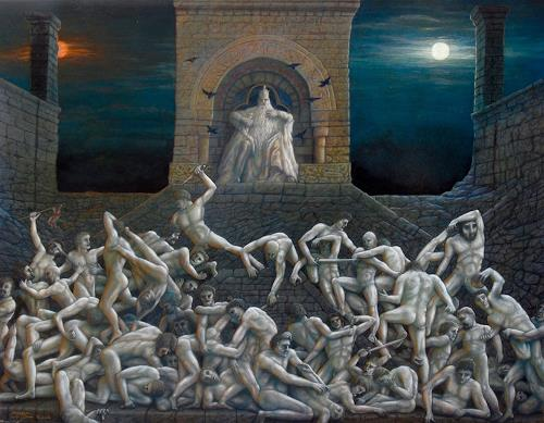 . Angerer der Ältere, Plötzlich, mitten in der Nacht....-Schlachtengemälde, Menschen, Mythologie, Gegenwartskunst, Abstrakter Expressionismus
