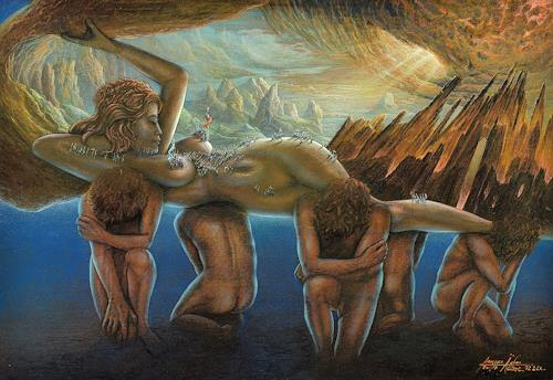 . Angerer der Ältere, Gaia - Erda, Menschen: Gruppe, Landschaft: Berge, Gegenwartskunst, Expressionismus