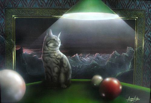 . Angerer der Ältere, Katze auf dem Billardtisch, Fantasie, Tiere: Land, Gegenwartskunst