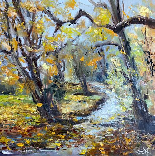 Sabine Schramm, o.T., Herbst, Landschaft: Herbst, Gegenwartskunst, Expressionismus