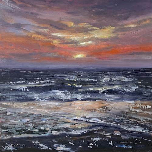 Sabine Schramm, Sonnenuntergang am Meer o.T. (191107), Landschaft: See/Meer, Gegenwartskunst