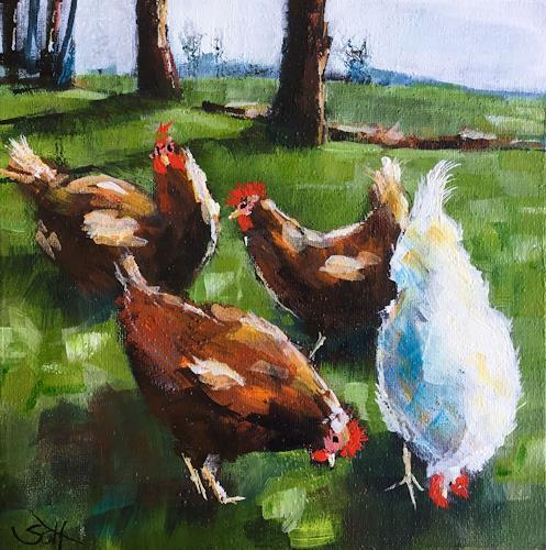 Sabine Schramm, Glückliche Hühner, Tiere: Land, Gegenwartskunst