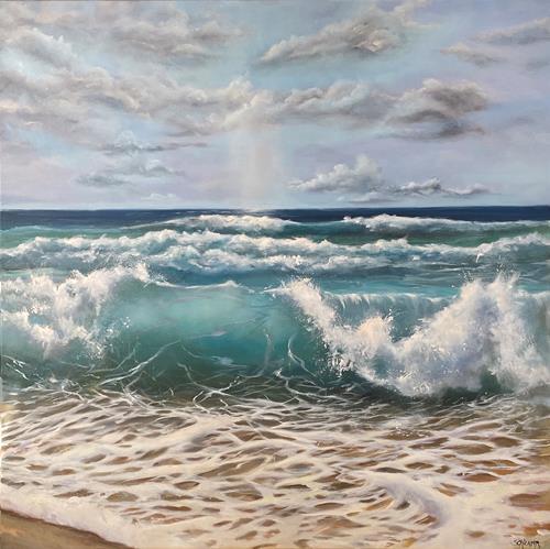 Sabine Schramm, Meer mit Welle, Landschaft: See/Meer, Gegenwartskunst, Expressionismus