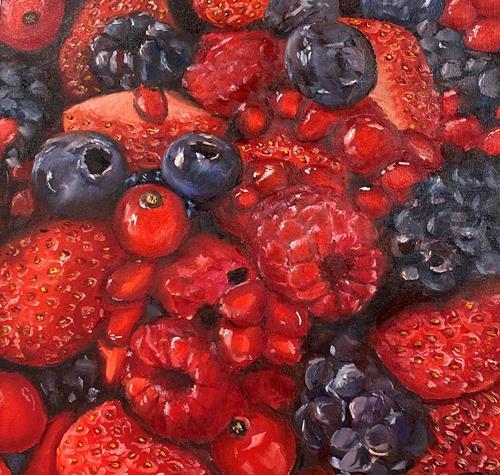 Sabine Schramm, Beeren, Pflanzen: Früchte, Essen, Gegenwartskunst, Expressionismus