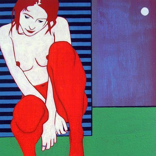 Peter Klint, schlafgewandelt, Akt/Erotik: Akt Frau, Menschen: Frau, Gegenwartskunst, Abstrakter Expressionismus