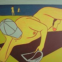 Peter-Klint-Akt-Erotik-Akt-Mann-Landschaft-Strand-Gegenwartskunst--Gegenwartskunst-