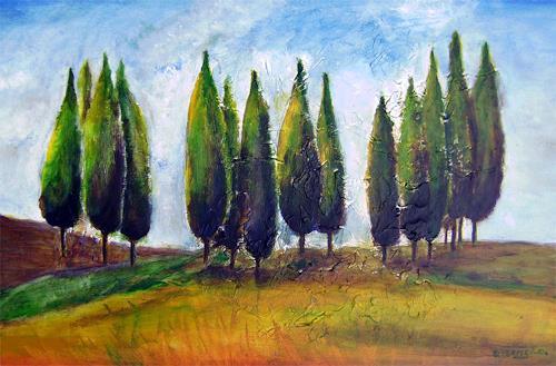 Gilberte Vermeulen, cypres, Landschaft: Herbst, Impressionismus