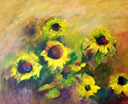 Gilberte Vermeulen, sunflowers, Pflanzen: Blumen, Impressionismus