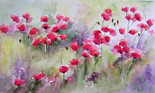 Gilberte Vermeulen, poppies, Pflanzen: Blumen, Impressionismus