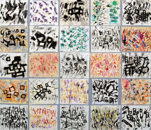 Jens Jacobfeuerborn, 25 kleine Bilder, Abstraktes, Fantasie, Art Brut