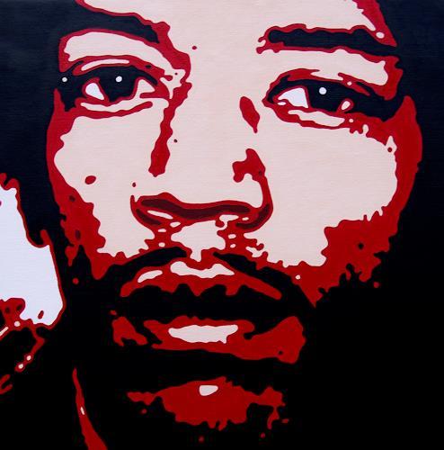Jens Jacobfeuerborn, Jimi Hendrix 2, Musik: Musiker, Menschen: Porträt, Pop-Art, Abstrakter Expressionismus
