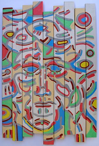 Jens Jacobfeuerborn, Lattenbild mit Gesicht, Menschen: Gesichter, Menschen: Mann, Moderne