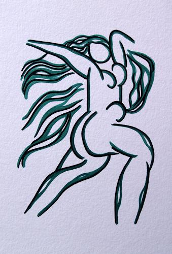 Jens Jacobfeuerborn, O.T., Akt/Erotik: Akt Frau, Dekoratives, Moderne