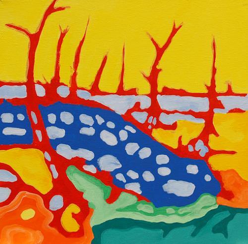 Jens Jacobfeuerborn, verstrahlte Landschaft, Landschaft: See/Meer, Fantasie, Pop-Art