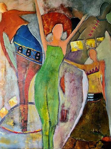 Ilona Felizitas Hetmann, 5 Frauen, Menschen: Frau, Menschen: Gruppe, Abstrakte Kunst, Expressionismus