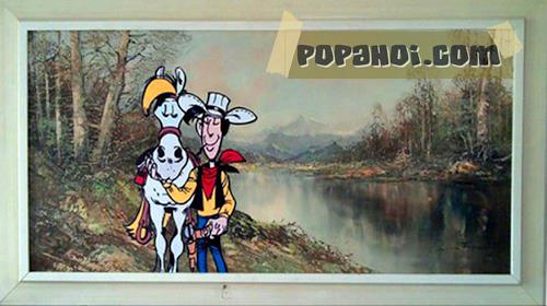 Marisa Rosato, Lucky Luke Comic auf Vintage Leinwand Gemälde, Menschen, Fantasie